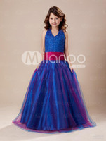 Reference Images little girl dresses - Romantic Royal Blue Halter Floor Length Little Girls Dress
