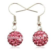 Wholesale 10mm Crystal Shamballa Shepherd Hook Earrings Wire Hook Eardrop Disco Ball Dangle Drop Earrings ZE04