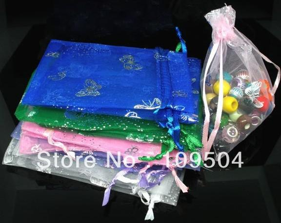 Vente en gros 100pcs 12x9cm Butterfly Organza Bag Christmas Wedding Voile Gift B