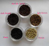al por mayor nano suena el pelo negro-1jar = 1000pcs más pequeño Micro NANO Anillos / Enlaces / los granos para juego de herramientas Nano Extensiones de cabello 6 colores opcionales de 2,5 mm de diámetro