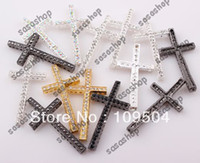 Wholesale mm New Colorful Sideways Cross Connector Charms With Rhinestone Crystal For DIY Bracelet Making