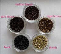 1000pièces 2.5mm diamètre Micro NANO Anneaux / Liens / Perles pour les extensions de cheveux Nano trousse 6 couleurs en option