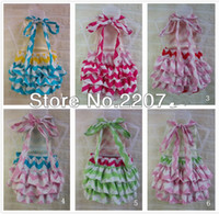 Wholesale 2013 sunny chevron bubble petti rompers with ruffle for baby girls Y