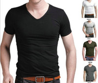 Wholesale New Promotion hot Men clothes t shirt high elastic cotton men s short sleeve v neck tight shirt male T shirt