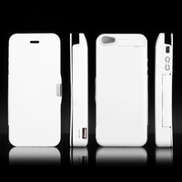 iphone 5 charger case - Mah Flip Leather External Battery Case Charger for iphone G Case External Backup White Best Gift New HK Post