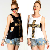 Wholesale leopard cross pattern print round collar sleeveless vest t shirt two piece women fashion sexy women tees D020
