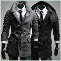 big horn coat - men horn button trench coat woolen blend long sleeve turn down collar single breasted pure color big pocket men long trench coat f13