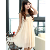 Sheath free size Ivory maternity dresses Maternity Casual Dress Pregnant women clothes Chiffon Dress maternity clothes womens Yarn skirt Sling Beige 1 pcs