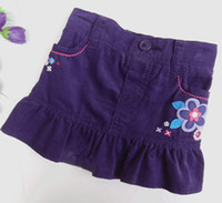 Summer A-Line Knee-Length Baby Girls Skirt Corduroy Cotton Spring Autumn Ruffle Pocket Flower-embroidered Purple 5pcs lot