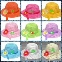 Wholesale Candy colors Child girl hat beach hat children hat sun hat mixed colors