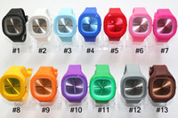 Wholesale 500pcs Colorful square ss unisex fashion square watches SS COM colors silicone jelly candy watch gift watch via DHL