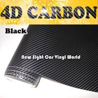achat en gros de carbon fiber sticker for car-Haute Qualité Noir 4D en fibre de carbone vinyle 4D Fibre de Carbone Wrap pour voiture Wrap bulle gratuit Taille: 1.52 * 30m / rouleau