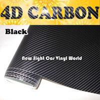 Wholesale High Quality Black D Carbon Fiber Vinyl For Car Wrap Air bubble Free FedEx SHIPPING Thickness mm Size m Roll