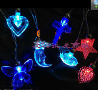 Wholesale Flash leaves glow crystal necklace pendant love the butterfly necklace light emitting toys evening party