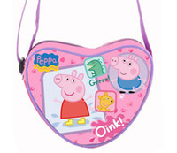 Wholesale Hotsale New Arrival Peppa pig girl Heart Shaped Messenger Bag purple cartoon Storage bag cm
