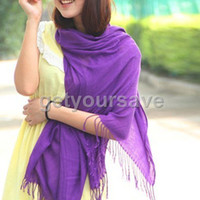 Wholesale 10pcs White Pashmina Cashmere Silk Solid Shawl Wrap Women s Girls Ladies Scarf Accessories