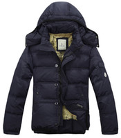 Wholesale Christmas and Halloween men s cotton padded clothes Medium style hooded stand collar cold proof fashion down coats Pure color