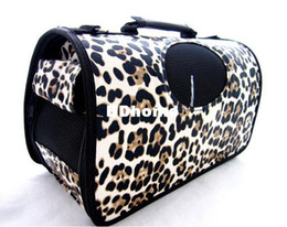 2016 impression sac de transport Sac Voyage Sac Pet porte-bagages Sac Chien Chat Sac avec imprimé léopard Ceinture Volet roulant SML impression sac de transport sur la vente