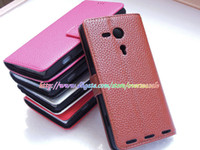 Leather sony xperia sp - Luxury Litchi Leechee skin Wallet credit card Flip leather case cases cover holder stand pouch pouches for Sony Xperia SP M35H