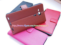 sony xperia sp - Luxury Litchi Leechee skin Wallet credit card Flip leather case cases cover holder stand pouch pouches for Sony Xperia SP M35H
