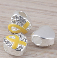 Wholesale Yellow Enamel Ribbon Clear Crystal Silver Heart Big Hole Charm Beads Fit European Bracelet Jewelry Making