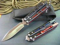 Wholesale Benchmade BK32 folding knife HRC pocket knife bule amp red fun knives with nylon bag and box Christmas gift