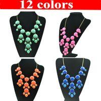 Wholesale 12 Colors Big Bubble Bib Statement Necklace Choker Jewelry Round Acryl Beaded yw