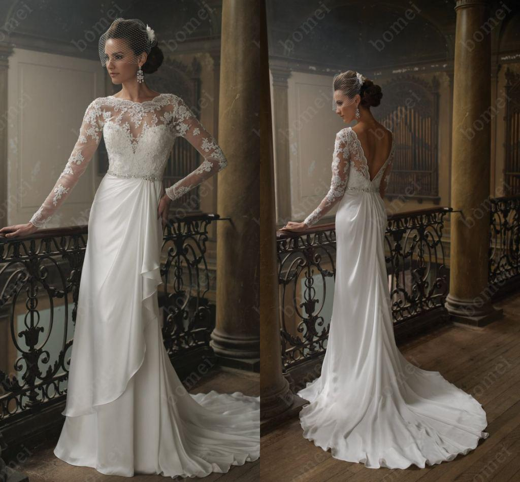Discount Vintage Bridal Gown Jewel A Line Satin Faced