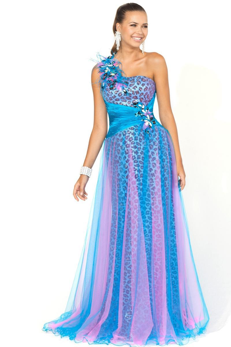 Blue Purple Prom Dresses Tulle Leopard Print One Shoulder Zipper ...