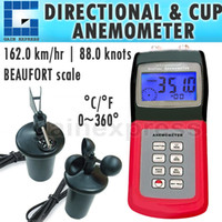 Wholesale AM C Multi function Portable Directional Digital Thermo Anemometer Air Weather Meter Wind Direction with CUP Type Sensor Probe
