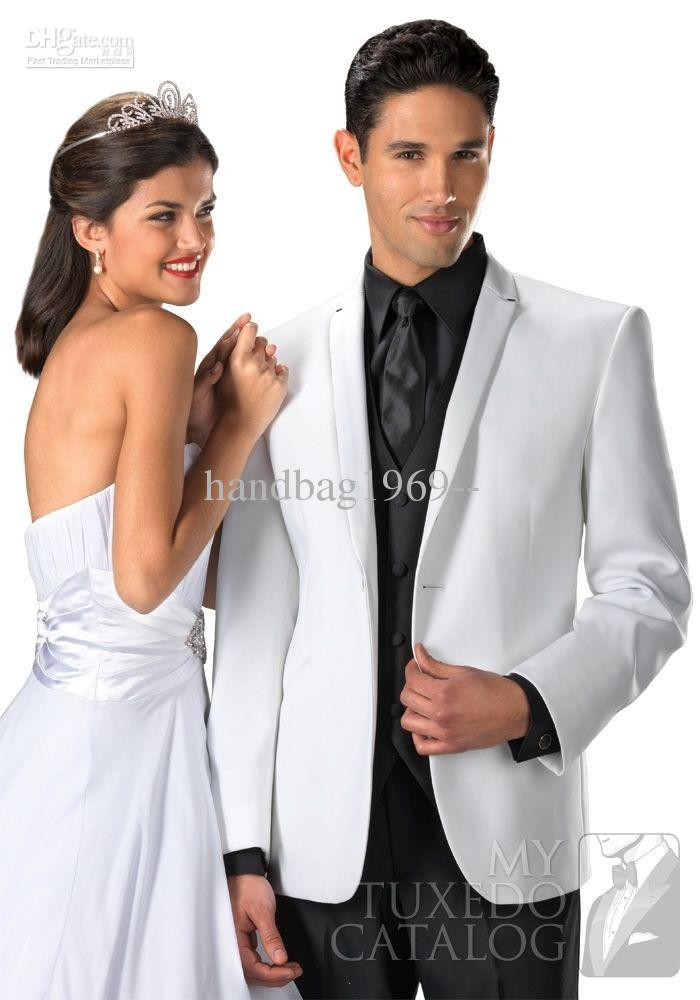 White Jacket And Black Pants Groom Tuxedos Best Man Suits ...