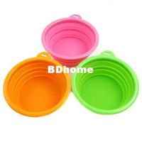 Wholesale 3 Environmental Friendly Ros Silicone Pet Collapsible Travel Bowl Dog Folding Bowl Portable Orange Green Pink