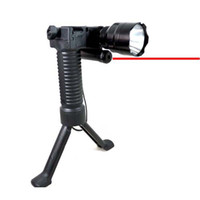 Wholesale Tactical Gear Military Steel Inserted Leg Grip Bipod Red Laser Sight Flashlight
