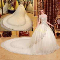Wholesale New Bling Bling Noble Chapel Chiffon Bead Sequin Crystal Lace Up Portrait Bridal Gown Wedding Dress