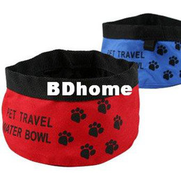 1pc lot Convenient folding calico water Pet Bowls portable Cat Water Bowl 9*15 CM Red Color Oxford Material Drop Shipping
