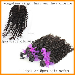 Wholesale A unprocessed mongolian vigin hair with lace closure kinky curly hair mix length inch natural color