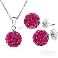 Wholesale Mix Color Shamballa Set Rhinestone Disco Crystal Beads Ball Pendant Necklaces Earrings silver