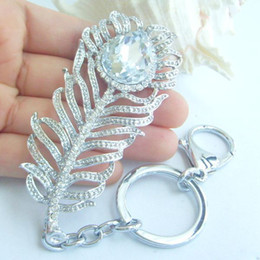 Peacock Feather KeyChain Handbags Pendant w Clear Rhinestone crystals KYS05102C4
