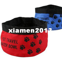 Wholesale 1pc Convenient folding calico water Pet Bowls portable Cat Water Bowl CM Red Color Oxford Material Drop Shipping