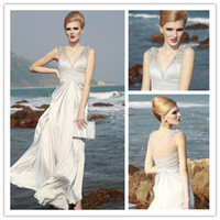 Wholesale New Arrival V Neck A Line Floor Length Beads Chiffon Evening Dresses Prom Gowns Beach Wedding Bridal Gown