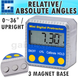 Wholesale 810 Portable Digital Angle Protractor Inclinometer Gauge Meter x degree Range Magnetic Base Always Upright LCD