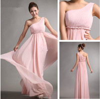Chiffon Ruffle Floor-Length 2013 Bridesmaid Dresses Sweet princess Greek Style Goddess One-shoulder Bare Pink Party Dresses