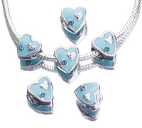 Wholesale PDB995 Free P amp P European Alloy Beads Royal Cyan Crystal Heart Big Hole Fit Bracelet Chain Pendant Necklace Making DIY