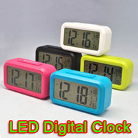Wholesale Home LED Digital Alarm Clock Snooze Desk Thermometer Calendar Battery Clock Mixed Colors in Stock