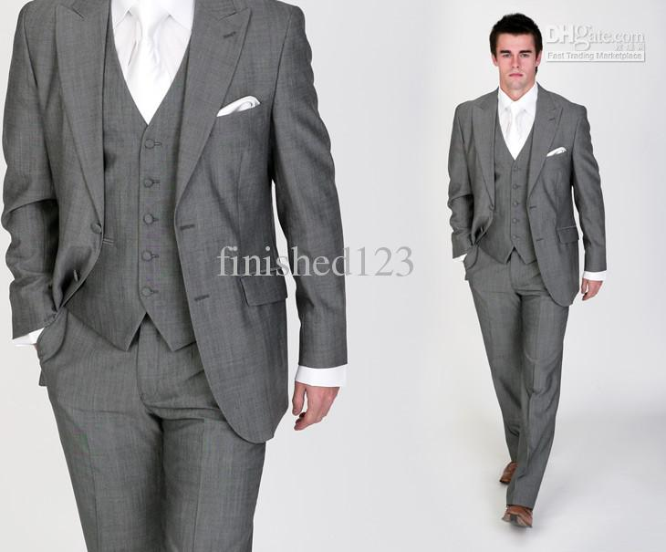 Latest Style Light Grey Groom Tuxedos Groomsmen Men's Wedding ...