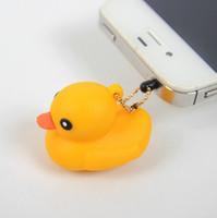 al por mayor iphone el enchufe del polvo de pato-Nave libre 30pcs 3.5mm Auriculares Hong Kong Pato amarillo del auricular Jack Plug Cap enchufe anti del polvo a prueba de polvo del casquillo del oído para el teléfono celular del iPhone 5 5G 4 4S
