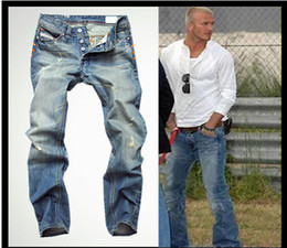 Wholesale fashion high quality Nostalgic retro beggar hole cotton DI brand men s jeans