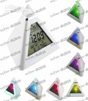 Wholesale LLFA896 LED color changing Triangle Pyramid music Alarm Clock
