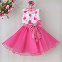 Wholesale Christmas Children Girl Party Dress White Rose Flower For Princess Girl Wedding Dress With Bow