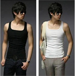 Wholesale Hot sale Fashion Men Sleeveless Cotton T Shirt Tank Tops colors M4002